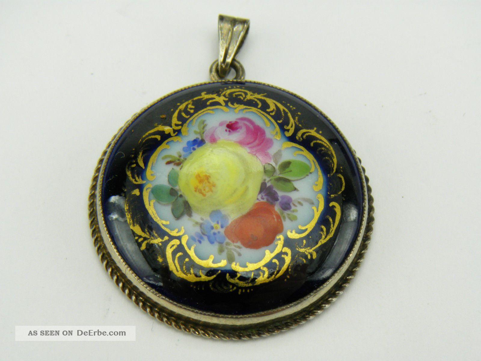 Meissen Blumen Bukett Kobaltblau Gold,  Ketten Anhänger / Medaillon,  Silber 900 Meissen Bild