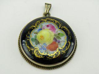 Meissen Blumen Bukett Kobaltblau Gold,  Ketten Anhänger / Medaillon,  Silber 900 Bild