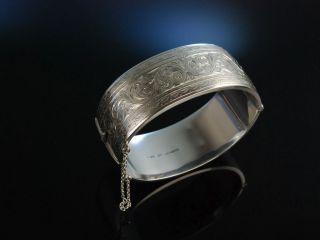 Birmingham Um 1960 Traumhafter Vintage Armreif Silber 925 Ranken Gravur Bild