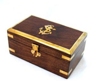 Box Holz Messing 14 X 6,  5 X8,  3 Cm Truhe Abschließbar Schatulle Truhe 2031 Bild