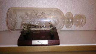 Seltenes Buddelschiff Glasschiff Victory Flaschenschiff Segelschiff Aus Glas Bild