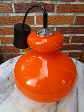 Kleine Hängeleuchte Glas Orange Peill & Putzler 70er Jahre Bild
