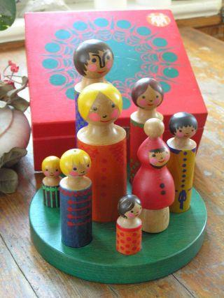 Altes Holzspielzeug Figuren Bemalt Marke Breitschwerdt Germany Vintage Sammler Bild