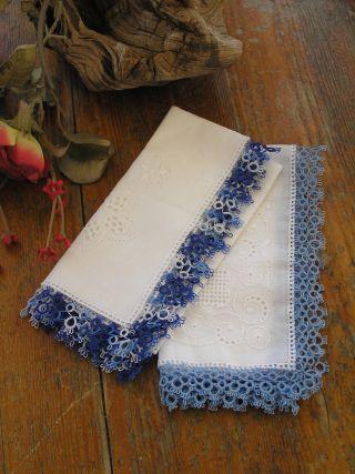 2 Taschentücher Stoff Damen Accessoires Handarbeit Blaue Spitze Häkelspitze Bild