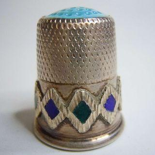 Silber Fingerhut Mit Türkis Um 1960 Sammlerstück Bild
