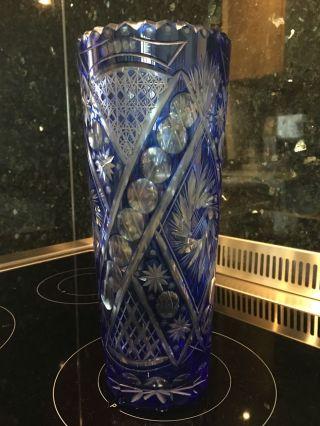 Bleikristall Vase Blau Übergang Bild