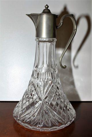 Antik - England - Karaffe Kristall/bleikristall Sternschliff - Versilbert - Bild