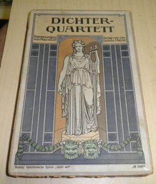 Sehr Altes Kartenspiel Dichter Quartett Nr.  5007 Jos.  Scholz Mainz - Um 1900 Bild