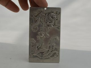 Collectible Decorated Old Tibet Silver Handwork Carved Dragon&phoenix Pendant Bild
