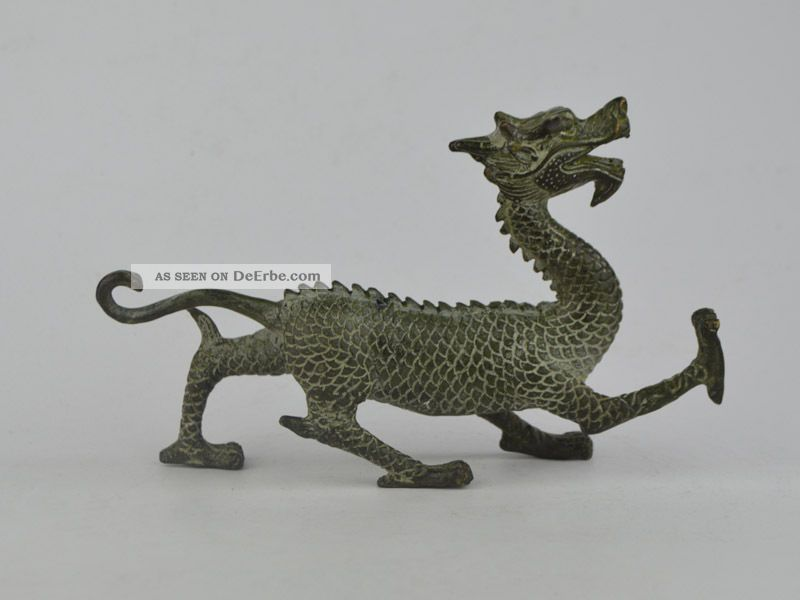 Collectible Exquisite Old Bronze Handwork Carving Dragon Statue Antike Bild