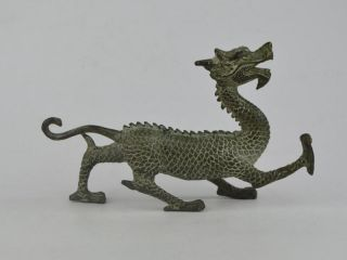 Collectible Exquisite Old Bronze Handwork Carving Dragon Statue Bild