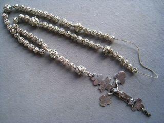 Alter Silber Filigraner Rosenkranz 8 Mm Perlen,  Silberkreuz / Tremulierstrich Bild
