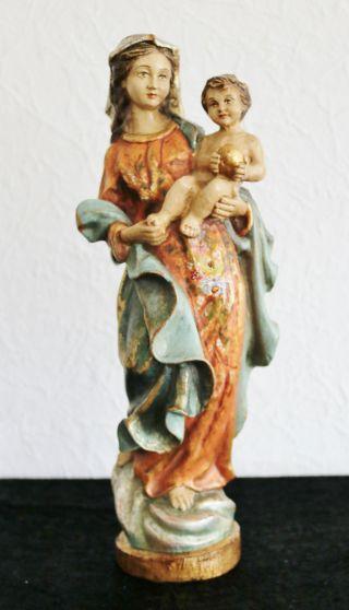 Alte - Marienstatue,  Holz Handbemalt,  Handgeschnitzt,  Holzfigur 42cm Aus Meran Tirol Bild