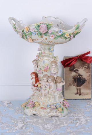 Tafelaufsatz Antik Schale Porzellan Barock Engel Prunkschale Kinderfiguren Bild