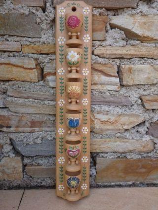 Bauernmalerei 6x Holz - Eierbecher Auf Holzboard - Blumenmotive Blumen Volkskunst Bild