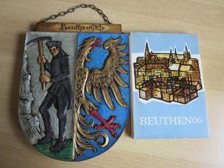 Wappen Der Stadt Beuthen/os,  Handgeschnitzt U.  Buch über Beuthen O.  S.  Gut Erh. Bild