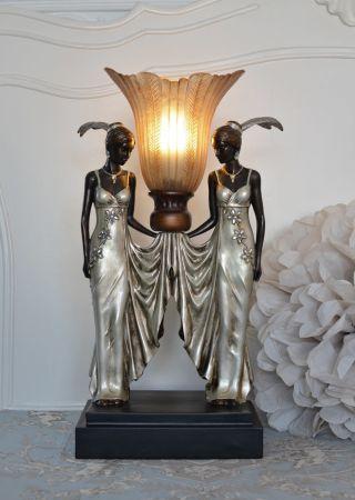 Tischleuchte Vintage Lampe Art Deco Frauenfigur Tischlampe Fächerschirm Antik Bild
