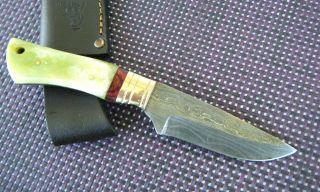 Damast Messer Jagdmesser 190 Gramm Full Tang Damastmesser Knochen Handarbeit Bild