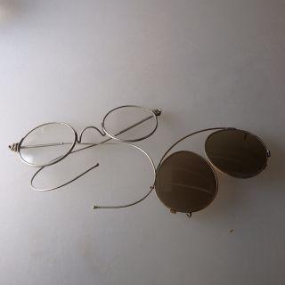 Nickelbrille Sportbügel Mit Sonnenschutz - Vorsatz Um 1900 (39383) Bild