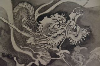 Antikes Japanisches Rollbild Kakejiku Drache Japan Scroll Dragon 1330 Bild