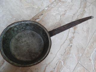 Alt Kupferpfanne Kupfer Stielgriff Ausgießer Kasserolle Bild