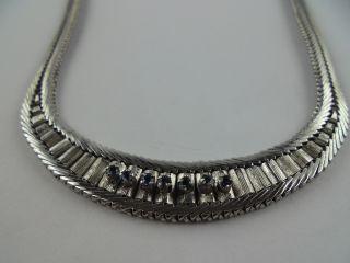 1726 Vintage Collier Kette Echt Silber 835 Rhodiniert Mit 7 Echten Saphiren 1950 Bild