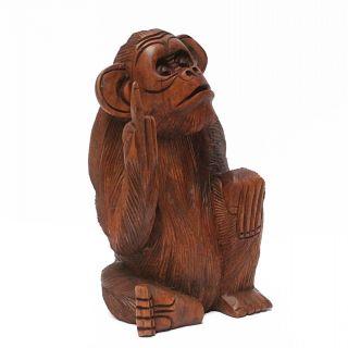 Affe Holz Figur Skulptur Stinkefinger Sitzend Deko Tier Monkey 30 Cm Groß Bild