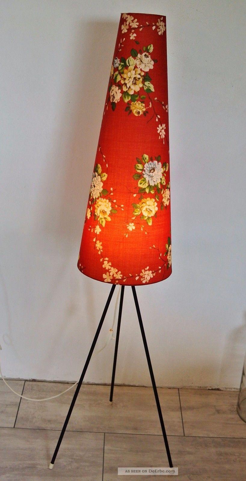 Tripod Lampe Stehlampe Dreibein Standlampe Blumen 50er 60er