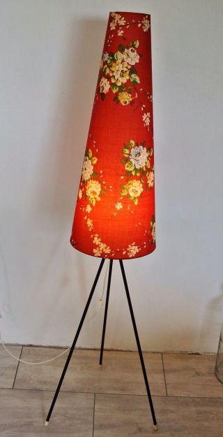 Tripod Lampe Stehlampe Dreibein Standlampe Blumen 50er 60er Vintage Mid Century Bild
