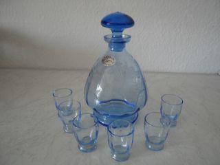 Art Deco Glas Karaffe & 6 Gläser Sudetendeutsche Wertarbeit,  Dekorschliff (a392) Bild