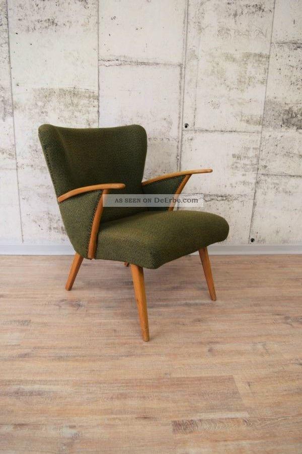 toller 50er 60er jahre sessel loungesessel gr n. Black Bedroom Furniture Sets. Home Design Ideas
