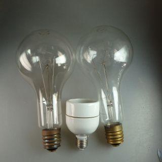 2 Alte Funktionstüchtige übergroße Glühbirnen Mit Adapter (39399) Bild