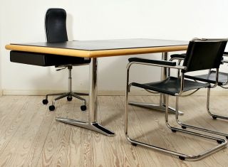 Knoll International Schreibtisch | Design Warren Platner | Chrome/leather Desk Bild