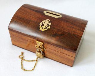 Spardose Holz / Messing Mit Schloß 14cm Box Truhe Schatztruhe Bild