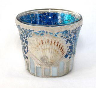 Windlicht Aus Glas Mosaik Blau 7 X 8 Cm Mit Muschel Bild