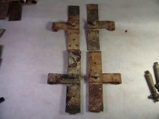 4 Antike Stück Türbänder Tür Kreuzband Beschläge Doppelflügel Vor 1945 Bild