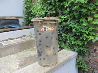 Alte Mülltonne 50 L Aschetonne Pflanzgefäß Verzinkt Von Sulo Bild