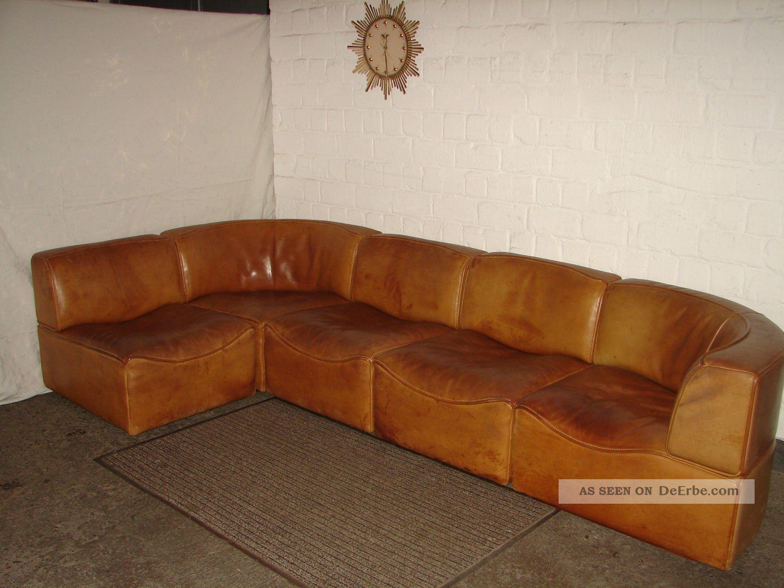De Sede Ds - 15 Modular Leder Sofa Sessel Büffelleder Sitzgruppe 1960 1970 Couch 1960-1969 Bild