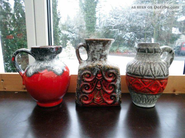 3 X Fat Lava Keramik 70er,  Vasen,  Krug,  Bay,  Jopeko,  Design Der 70er Jahre 1970-1979 Bild