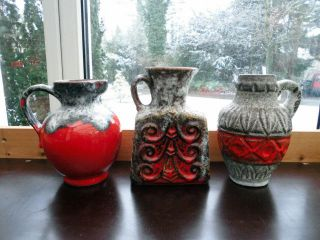 3 X Fat Lava Keramik 70er,  Vasen,  Krug,  Bay,  Jopeko,  Design Der 70er Jahre Bild