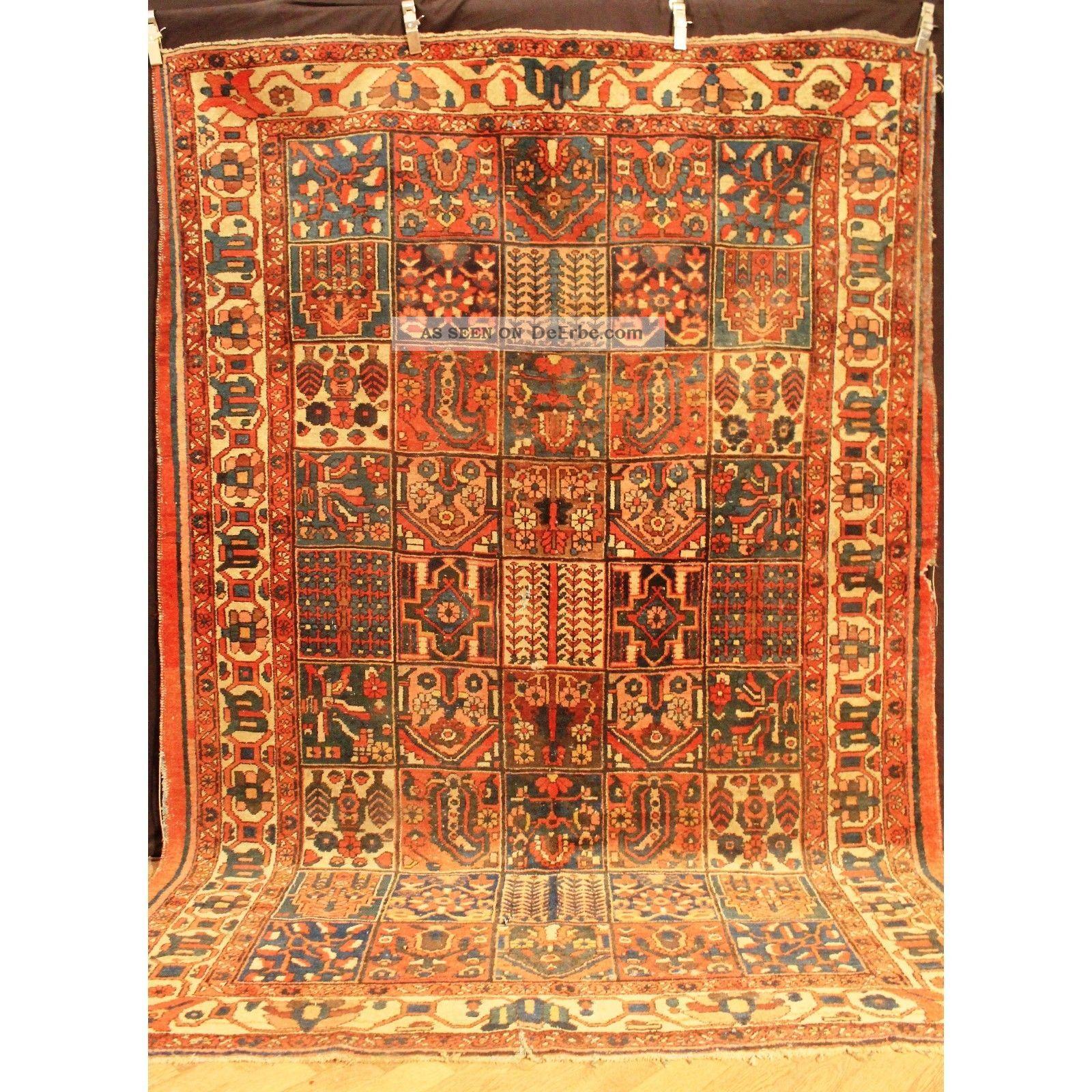 antik handgekn pft orientteppich felder bachtia vintage old rug carpet 295x205cm. Black Bedroom Furniture Sets. Home Design Ideas