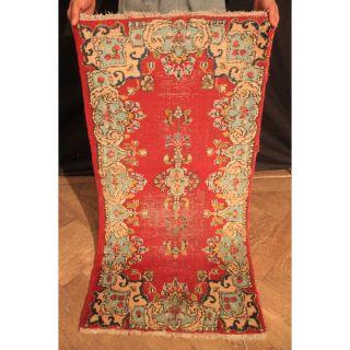 Alter Handgeknüpfter Orient Blumen Teppich Vintage Sa Rug Nain 120x60cm Carpet Bild
