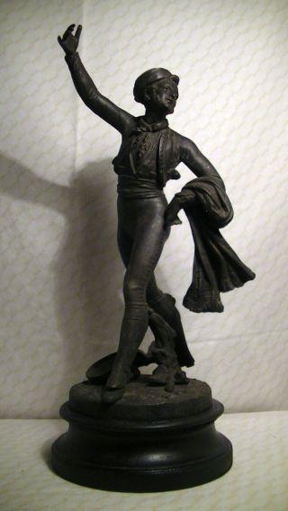 Eine (v.  Zwei) Alte Skulptur,  Figur,  40 Cm,  3 Kg,  Mann,  Tänzer,  Antik Bild