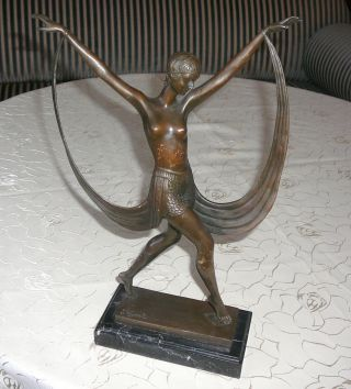Art Deco - Bronze - Fayral - Veil Dancer - - 38 Cm Hoch - - Bild
