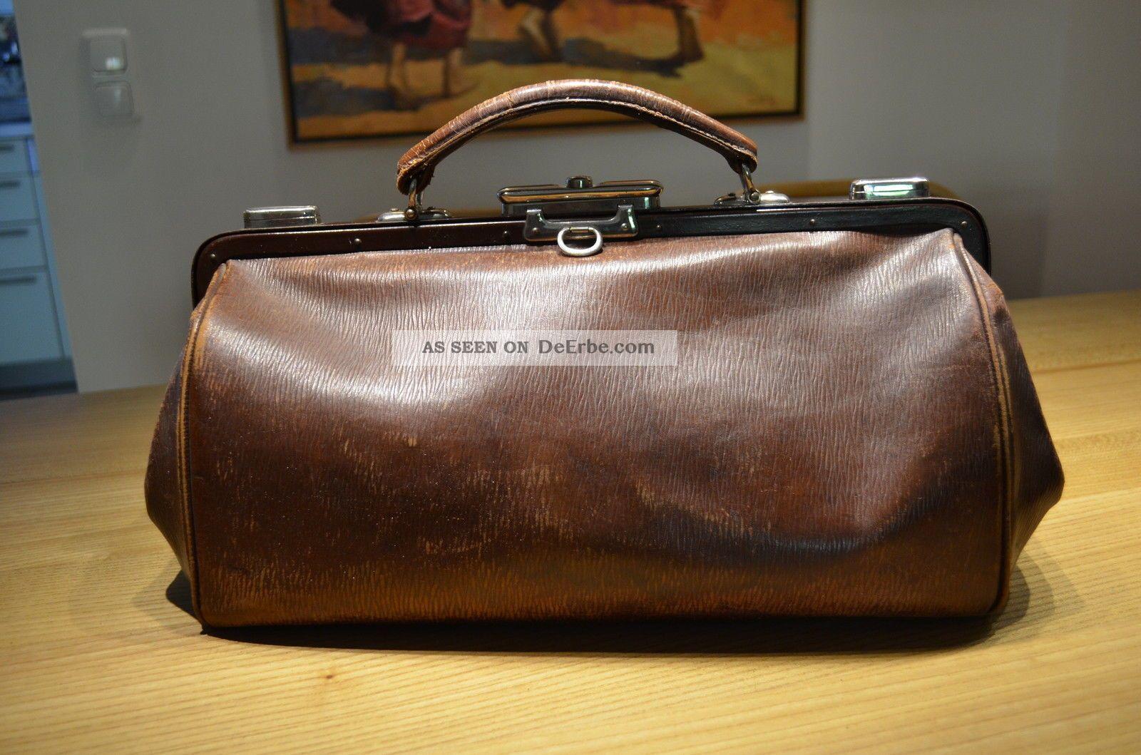 Antike Hebammen Koffertasche - Arzt Ledertasche Koffer Leder Tasche Um 1920 Arzt & Apotheker Bild