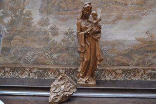 Holzfigur,  Madonna,  Maria Mit Kind,  Oberammergau,  68/55,  5 Cm Hoch Handgeschnitzt Bild