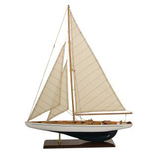 Segelboot Segelschiff Segelyacht Holz Blau Weiß U.  Schwarz Deko Standmodell 60 Cm Bild