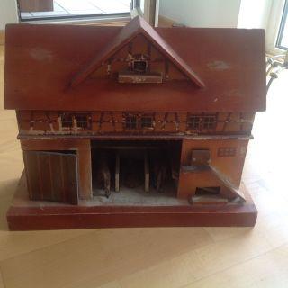 Antik Spielzeug Holz Pferdestall/ Bauernhof Bild