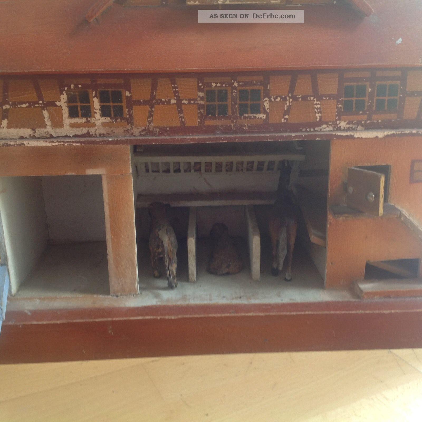 antik spielzeug holz pferdestall bauernhof. Black Bedroom Furniture Sets. Home Design Ideas