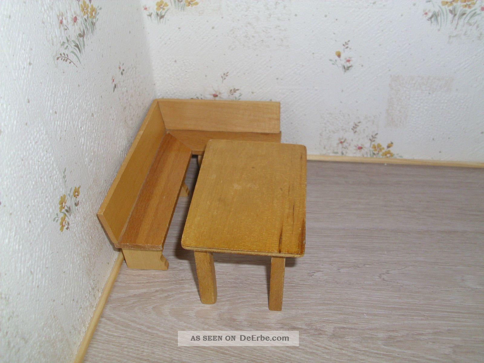 ltere sitzbank eckbank tisch aus holz f r puppenstube puppenk che 1 12. Black Bedroom Furniture Sets. Home Design Ideas